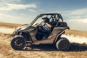 Driving a UTV in the sand